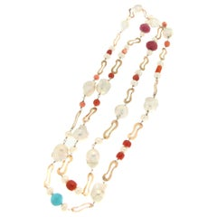 Handcraft 9 Karat Yellow Gold Ruby Turquoise Pearls Coral Beaded Necklace