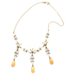 Handcraft 9 Karat Yellow Gold Sapphires Coral Citrine Drop Necklace