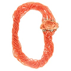 Handcraft 925 Thousandths Silver Coral Choker Necklace