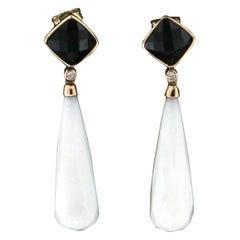 Handcraft Agate 14 Karat Yellow Gold Onyx Diamonds Drop Earrings