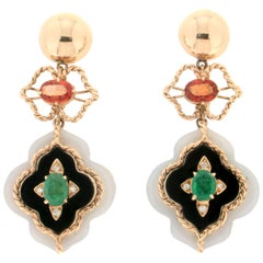 Handcraft Agate 14 Karat Yellow Gold Onyx Emerald Diamonds Drop Earrings