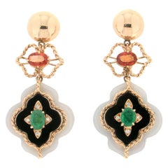 Handcraft Agate 14 Karat Yellow Gold Onyx Emerald Diamonds Drop Earrings