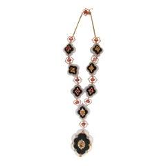 Handcraft Agate 14 Karat Yellow Gold Onyx Sapphires Diamonds Choker Necklace