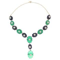 Handcraft Agate 18 Karat Gold Diamonds Lapis Lazuli Drop Necklace