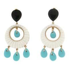 Handcraft Agate 18 Karat Yellow Gold Turquoise Onyx Drop Earrings
