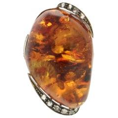 Handcraft Amber 14 Karat Yellow Gold Diamonds Cocktail Ring