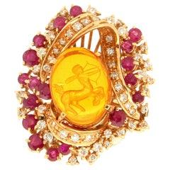 Handcraft Amber 18 Karat Yellow Gold Diamonds Ruby Cocktail Ring