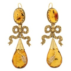 Handcraft Amber 9 Karat Yellow Gold Drop Earrings
