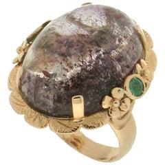 Handcraft Amethyst 14 Karat Yellow Gold Emeralds Cocktail Ring
