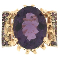 Handcraft Amethyst 14 Karat Yellow Gold Ruby Cocktail Ring