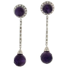 Handcraft Amethyst 18 Karat White Gold Diamonds Drop Earrings