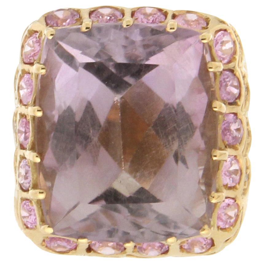 Handcraft Amethyst 18 Karat Yellow Gold Diamonds Pink Sapphires Cocktail Ring