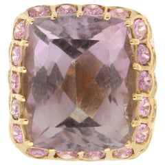 Handcraft Amethyst 18 Karat Yellow Gold Diamonds Pink Sapphires Cocktail Ring