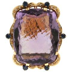 Handcraft Amethyst 18 Karat Yellow Gold Diamonds Sapphires Cocktail Ring