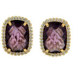 Handcraft Amethyst 18 Karat Yellow Gold Diamonds Stud Earrings
