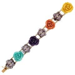 Handcraft Amethyst Flowers 18 Karat Yellow Gold Diamonds Cuff Bracelet