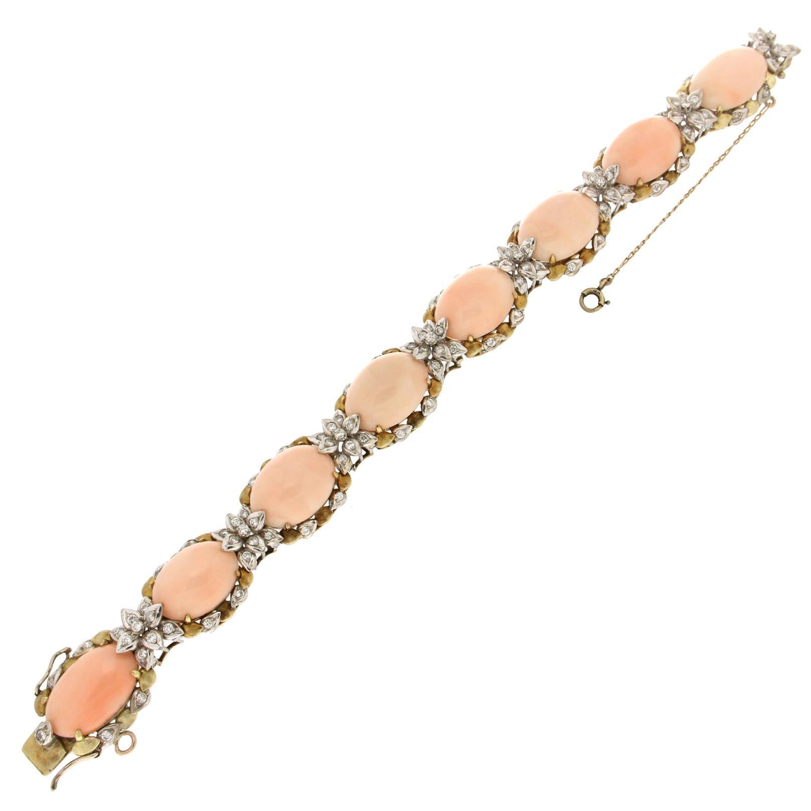 Handcraft Angel Skin Coral 18 Karat Gold Diamonds Cuff Bracelet