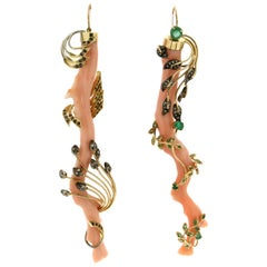 Handcraft Angel Skin Coral Branches 14 Karat Yellow Gold Drop Earrings