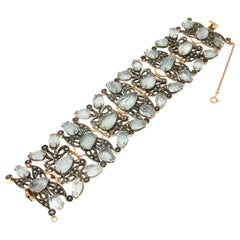 Handcraft Aquamarine 14 Karat Yellow Gold Diamonds Sapphires Cuff Bracelet