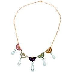 Handcraft Aquamarine 18 Karat White and Yellow Gold Diamonds Pendant Necklace