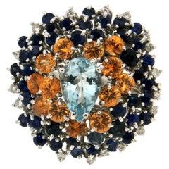 Handcraft Aquamarine 18 Karat White Gold Diamonds Sapphires Cocktail Ring