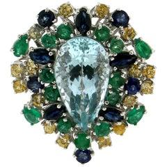 Handcraft Aquamarine 18 Karat White Gold Emeralds Sapphires Cocktail Ring