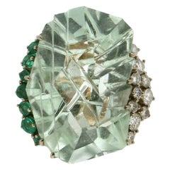 Handcraft Aquamarine 18 Karat Yellow Gold Diamonds Emeralds Cocktail Ring