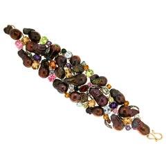 Handcraft Australian Brown Pearls 18 Karat Yellow Gold Diamonds Cuff Bracelet