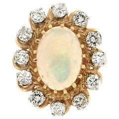 Handcraft Australian Opal 14 Karat Yellow Gold Diamonds Cocktail Ring