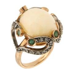 Handcraft Australian Opal 14 Karat Yellow Gold Diamonds Emeralds Cocktail Ring