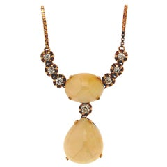 Handcraft Australian Opal 14 Karat Yellow Gold Diamonds Pendant Necklace