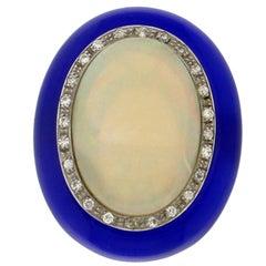 Handcraft Australian Opal 18 Karat White Gold Diamonds Blue Agate Cocktail Ring
