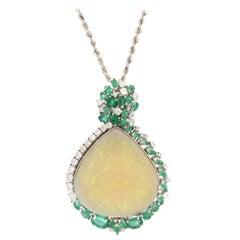 Handcraft Australian Opal 18 Karat White Gold Diamonds Emeralds Pendant Necklace