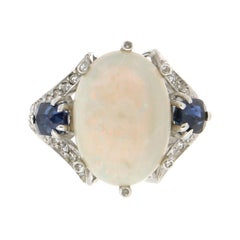Handcraft Australian Opal 18 Karat White Gold Diamonds Sapphires Cocktail Ring