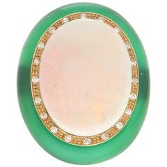 Handcraft Australian Opal 18 Karat Yellow Gold Diamond Green Agate Cocktail Ring