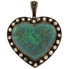 Handcraft Australian Opal 9 Karat Yellow Gold Diamonds Pendant Necklace