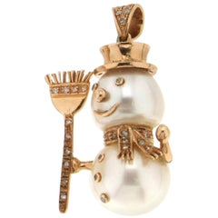 Handcraft Australian Pearl 9 Karat Yellow Gold Diamonds Snowman Pendant Necklace