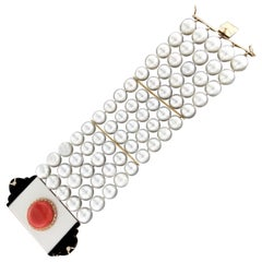 Handcraft Australian Pearls 14 Karat Gold Diamonds Coral Onyx Cuff Bracelet