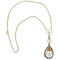 Handcraft Australian Pearls 14 Karat Yellow Gold Diamonds Pendant Necklace