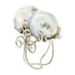 Handcraft Australian Baroque Pearls 18 Karat White Gold Cocktail Ring