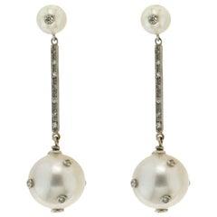 Handcraft Australian Pearls 18 Karat White Gold Diamonds Drop Earrings