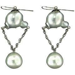 Handcraft Australian Baroque Pearls 18 Karat White Gold Drop Earrings