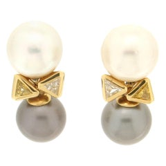 Handcraft Australian Pearls 18 Karat Yellow Gold Fancy Diamonds Stud Earrings
