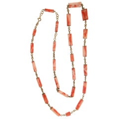 Handcraft Barrels Coral 14 Karat Yellow Gold Chain Necklace