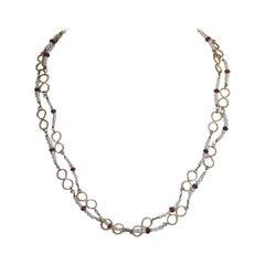 Handcraft Beads 18 Karat Yellow Gold Rubies Chain Necklace