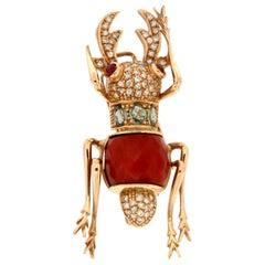 Handcraft Beetle 14 Karat Yellow Gold Coral Ruby Tourmaline Diamonds Brooch