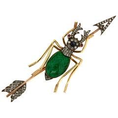 Handcraft Beetle 14 Karat Yellow Gold Enamel Diamonds Brooch