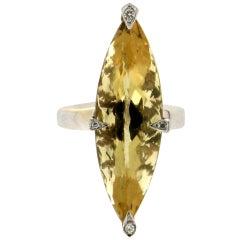 Handcraft Beryl 18 Karat White Gold Diamonds Cocktail Ring