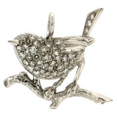 Handcraft Bird 14 Karat White Gold Diamonds Pendant Necklace