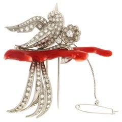 Handcraft Bird 18 Karat White Gold Diamonds Coral Brooch